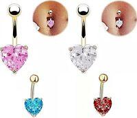 Piercing Nombril, plaqué or, coeur cristal bleu, rouge, rose.., bijoux fantaisie