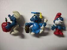 Lot of 3 Vintage Smurf  Peyo Schleich  Papa, Teacher & Graduation Figures