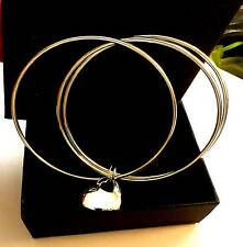 Bangles set of three  with heart charm -gorgeous Bargain New! 925 silver.coated