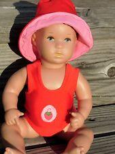 BADEANZUG + Hut  für Puppen Baby Badepuppe Planscherle Gr.30 Erdbeerchen ROT NEU