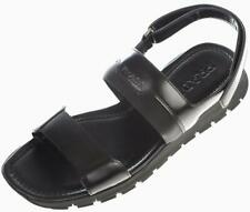 NEW PRADA MEN'S BLACK LEATHER SANDALS LOGO SUMMER SHOES 11/US 12