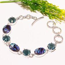 Abalone Shell Blue Topaz Gemstone Ethnic Fashion Jewelry Bracelet SB1499