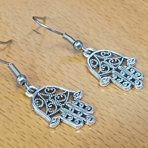 Hypoallergenic Surgical Steel Earrings with Tibetan Silver Hamsa Palm Charms