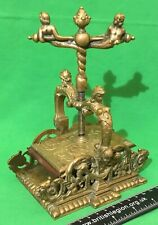 Old Antique Heavy Brass Playing Cards Card Press * CHERUBS MERMAIDS + DRAGONS *