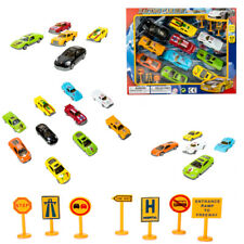 Mini Diecast Toy Car Street Racer With Traffic Street Sign Playset Children Gift