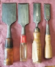 Vintage Wood Firmer Chisel Lot Stanley & Other 4 pc Set Woodworking Tools!