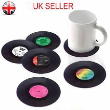 6 Pcs Vinyl Style Drinks Coasters Place Mats Set Retro Vintage Record Discs