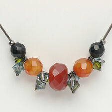 Austrian Murano crystals stainless steel pendant necklace