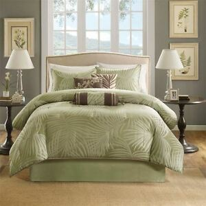 BEAUTIFUL PALM LEAF TREE SAGE GREEN IVORY BROWN TROPICAL BEACH COMFORTER SET