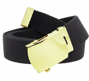 Men's Gold Brass Slider Military Belt Buckle with Canvas Web Belt
