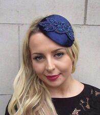 Navy Blue Velvet Beaded Fascinator Teardrop Races Wedding Headband Hat Vtg 3366