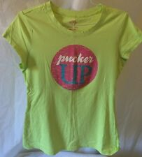 "Victoria Secret Bright Green With ""Pucker Up"" In Pink Circle Tee. Size M. EUC"