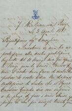 Lettera Autografa Alfredo Lambert su Blocco Pensioni da Parigi Italia Unita 1860