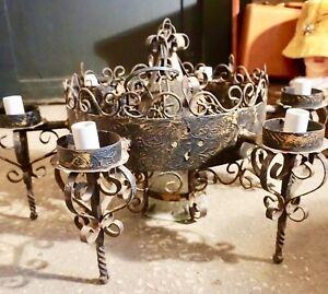 VTG Black w Gold Medieval 7 Light Hanging Chandelier Gothic w Glass Cylinder