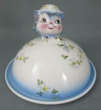 """Vintage LEFTON CHINA """"Miss Priss"""" Kitten Cat COVERED BUTTER/ CHEESE DISH"""