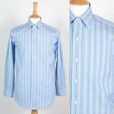 MENS RALPH LAUREN SHIRT BLUE STRIPED CURHAM STYLE CLASSIC FIT SMART STYLE M