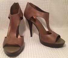 Fergie Stilettos Heels Low Platform Leather Brown T-Strap Peep Toe Zip Up Sz10M