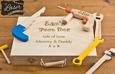Personalised Childrens Play Toy Tool Box Kit Set & Wood Case Boys Wooden Hammer