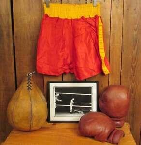 Vintage 1940s Boxing Memorabilia Group w/Framed Photo Wilson Gloves Bag Trunks