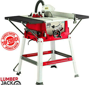 """Lumberjack 10"""" 1800w 250mm Bench Table Saw with Legstand Extensions & Blade 230v"""