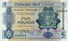 Scotland Clydesdale Bank P-198 5 pounds 1965 VF