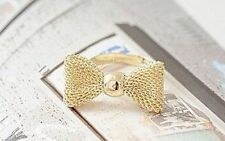 Fashion golden mesh bowknot bow knot bow tie ring