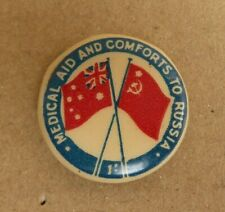 WW11 AIF AUSTRALIAN RUSSIAN MEDICAL AID AND COMFORTS BUTTON DAY BADGE PIN