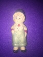 Vintage Bisque Doll Figure Child Boy Blue Hat 3.5� Japan