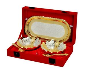 Indian Gold and Silver Plated Floral Bowls and Spoon with Octagan Tray Decor