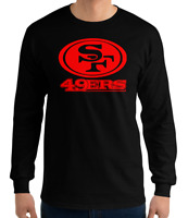 SAN FRANCISCO 49ERS BLACK long sleeve T-Shirt RED Logo Unisex Adult S-2XL