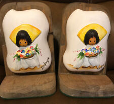 Vintage Ted DeGrazia Bookends Book End Wood Hand Painted Flower Boy Southwest