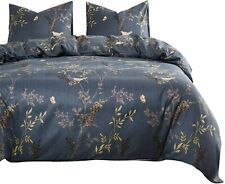 Wake In Cloud Flowers Leaves Floral Birds Dark Gray Comforter Set King Size