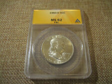 1960-D Franklin Half Dollar Slabbed ANACS Graded MS62 FBL