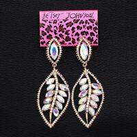 Women's Jewelry Colorful AB Crystal Leaf Dangle Eardrop Betsey Johnson Earrings