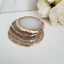 Natural White Agate Crystal Coasters with Gold Plated Edge Set of 4