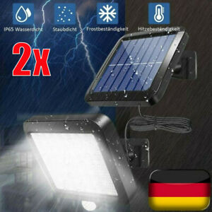 2X 120 LED Solarleuchte Solarlampe mit Bewegungsmelder Außen Fluter Wandstrahler