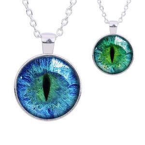 1 PC Unique Colored Dragon Cat Eye Glass Cabochon Plated Pendant Necklace HdZ