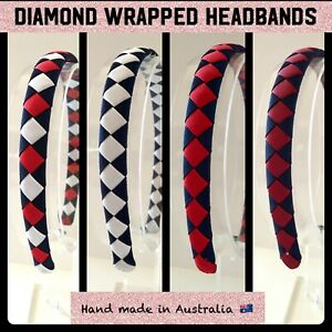 Girls School  Diamond Wrapped Head Bands 24 Colour Available Plus Custom Colours