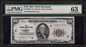 1929 $100 FRBN  ❀❀ RICHMOND ❀❀     PMG CH UNC 63