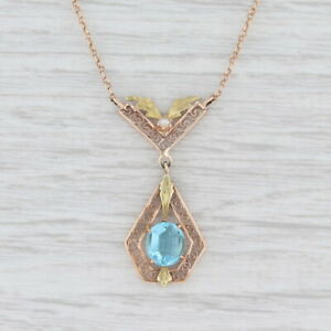 "Vintage Blue Glass Lavaliere Necklace 10k Rose Green Gold 17.5"""
