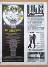 DEF LEPPARD JELLY FISH JOHNNY WINTER 'live dates' 1993 Press ADVERT 12x10 inches