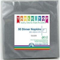 SILVER DINNER NAPKINS PACK OF 50 BIRTHDAY PARTY TABLEWARE SUPPLIES