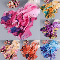 EB_ Spring Summer Women Leaves Print Long Soft Wrap Scarf Chiffon Shawl Scarves