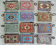 40 Pieces Small Coin Purses Wholesale! Ethnic Carpet Pattern Zippered Pouch Bag