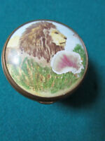 HALCYON DAYS BILSTON AND BATTERSEA ENAMEL ON COPPER TRINKET BOX LION HEAD