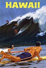 A0 Large Vintage Illustrated art Travel Poster Print Hawaii Aloha surfing waves