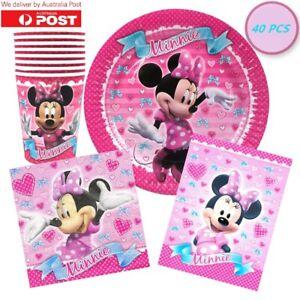 Minnie Mouse Party Supplies Tableware Party Pack Set Decorations Disney 40 PCS
