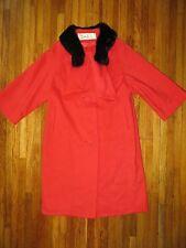 Lilli Ann Paris Womens Red Wool Princess Swing Coat Jacket Black Mink Fur Collar