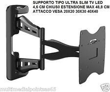 """SUPPORTO STAFFA SLIM TV LED 26"""" 42"""" PLB-2642 ATTACCO VESA 20X20 30X30 40X40"""