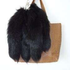 10pcs/Lot Large Luxury Black Real Fox Tail Keychain Fur Tassel Bag Tag Charm